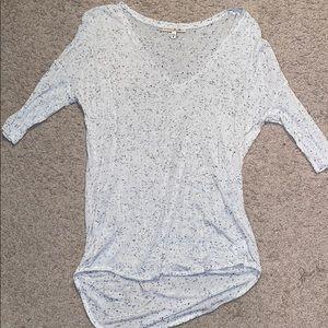 EXPRESS white with black specks tee